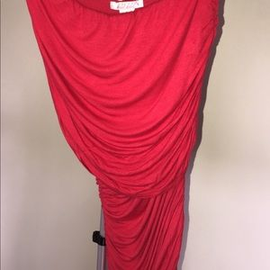 Strapless off the shoulder red ruched dress